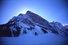 Photo of Fairview Mountain, taken from walking on frozen Lake Louise